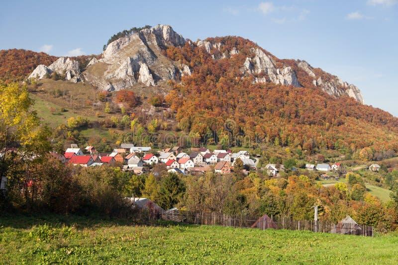 Vrsatec and Vrsatecke Podhradie village - Slovakia. Autumnal panoramic view of Vrsatec and Vrsatecke Podhradie village - Slovakia stock photo