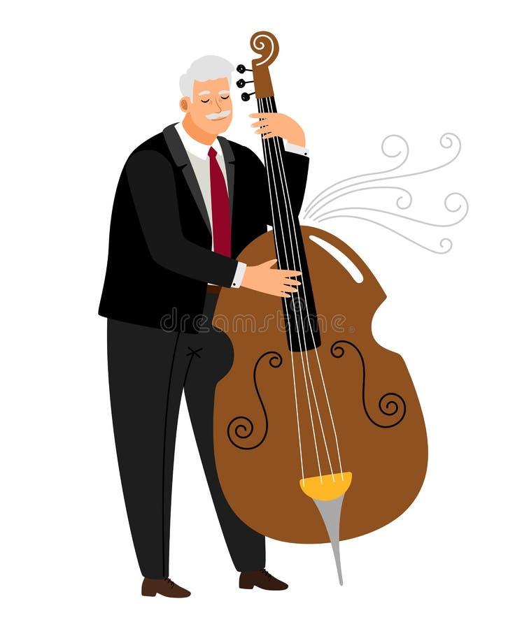 Vrtuoso contrabassist人,球员爵士乐最低音传染媒介 皇族释放例证