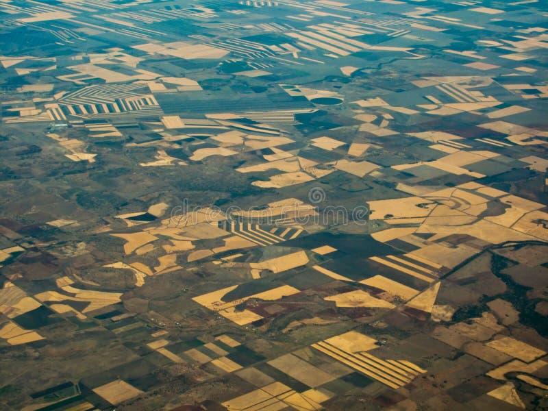 Vruchtbare Gebieden in Au van Queensland hierboven wordt bekeken dat van royalty-vrije stock foto