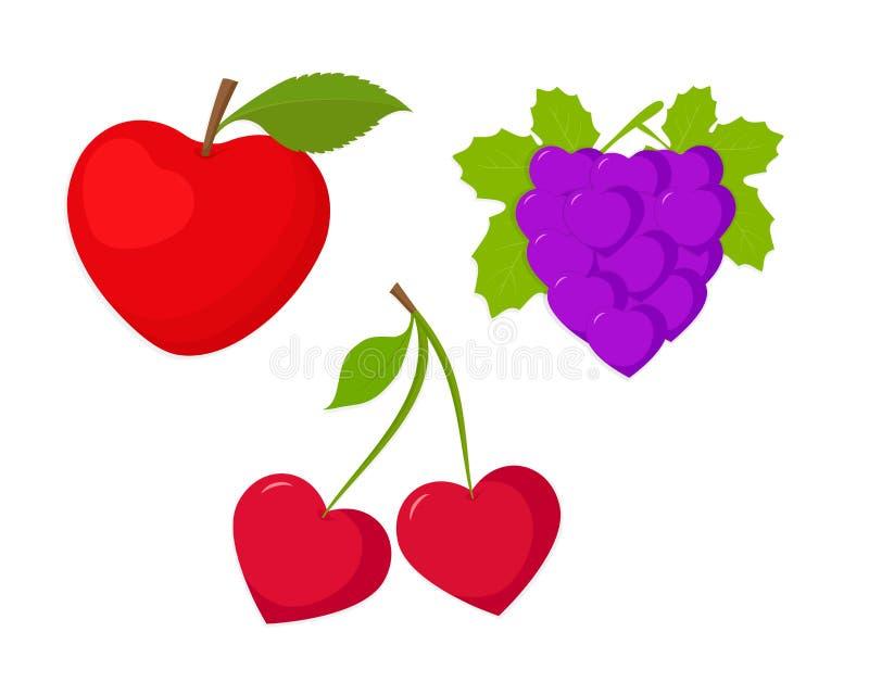 Vruchten, vruchten als harten worden geplaatst dat royalty-vrije illustratie