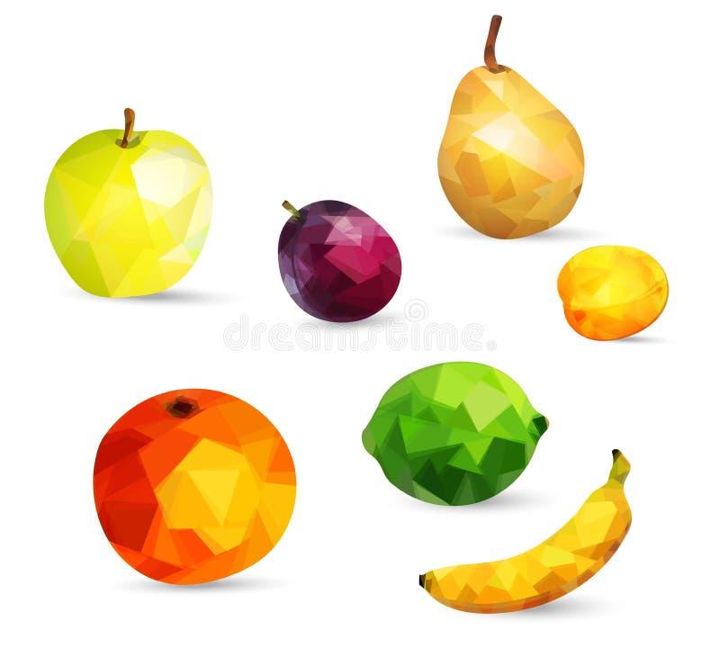 Vruchten appel, kalk, sinaasappel, peer, banaan en pruimbessen en abrikoos in lage polydiestijl op witte achtergrond wordt geïsol vector illustratie