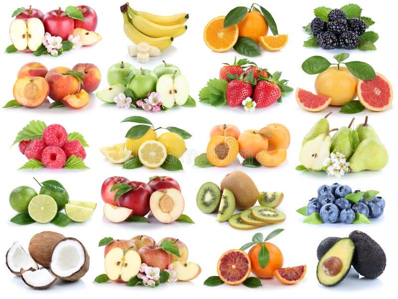 Vruchten banaan van de appelappelen van de fruitinzameling de verse oranje strawbe royalty-vrije stock fotografie