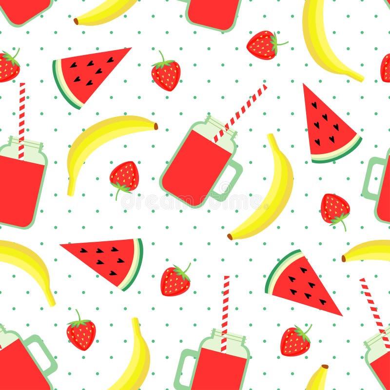 Vruchten, bessen en smoothie kruiken naadloos patroon op stippenachtergrond royalty-vrije illustratie