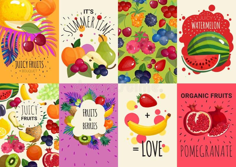 Vruchten Bessen 8 Geplaatste Banners royalty-vrije illustratie