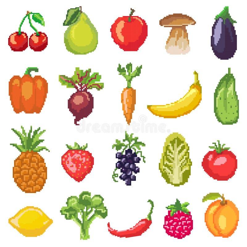 Vruchten de vector gezonde voeding van pixelgroenten van fruitige appelbanaan en vegetably wortel voor vegetariërs het eten vector illustratie