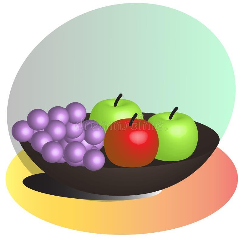 Vruchten die op een plaat worden geplaatst vector illustratie