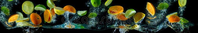 Vruchten die tijdens de vlucht, water bespatten Fruit in het water stock foto's