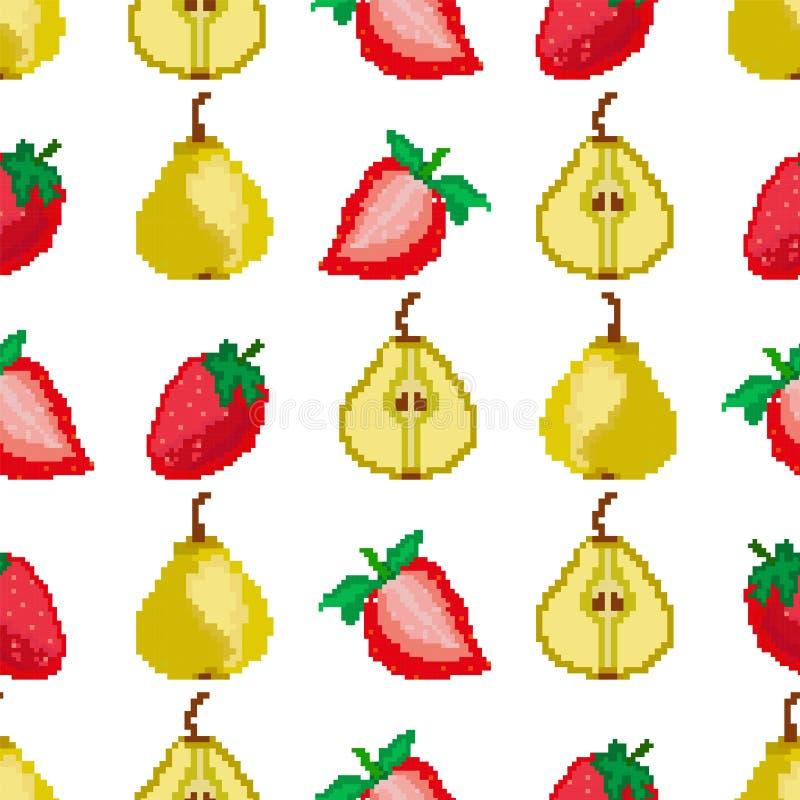 Vruchten en bessen Peren en aardbeien naadloos patroon Pixelborduurwerk vierkant Vector vector illustratie