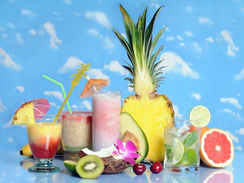 Vruchten en dranken stock foto's