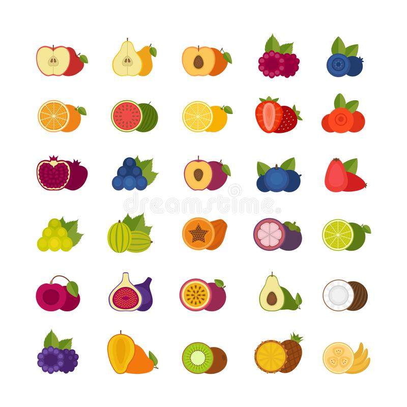 Vruchten en geplaatste bessenpictogrammen Vlakke stijl, vectorillustratie stock illustratie