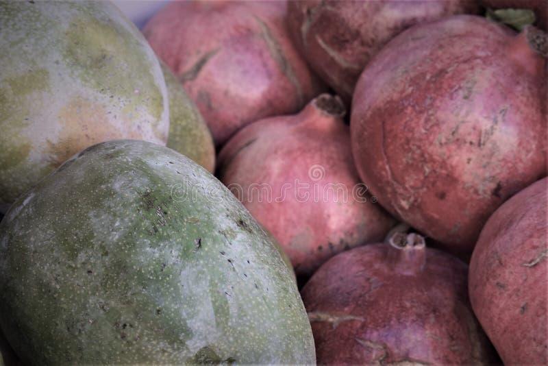 Vruchten en granaatappels van de zuiden de de tropische mango in een doos stock fotografie