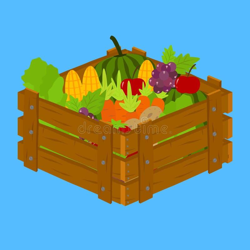 Vruchten en Groenten binnen Houten Krat stock illustratie
