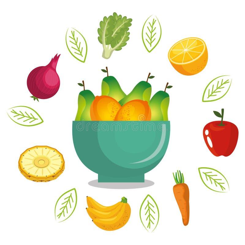 Vruchten en groenten gezond voedsel stock illustratie
