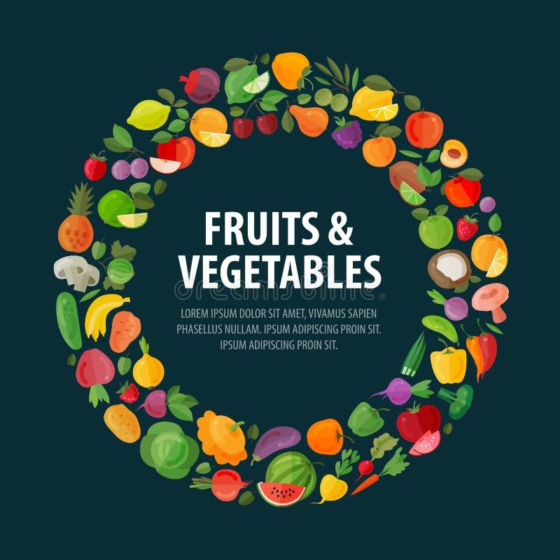 Vruchten en groenten het vectormalplaatje van het embleemontwerp vector illustratie