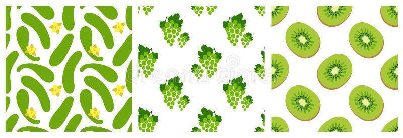 Vruchten en groenten naadloze patroonreeks Komkommer, druiven, kiwi Manierontwerp Voedseldruk voor kleren, linens of gordijn stock illustratie
