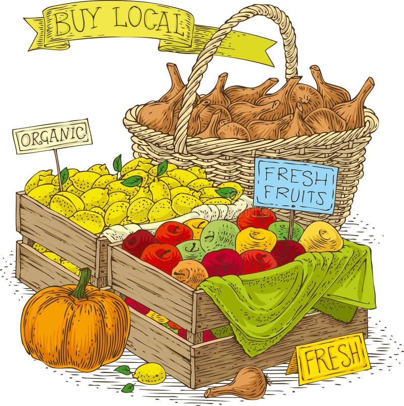 Vruchten en groenten voor verkoop stock illustratie