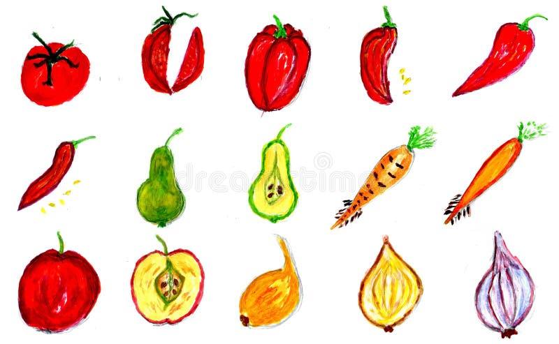 Vruchten en Groentenart. royalty-vrije illustratie
