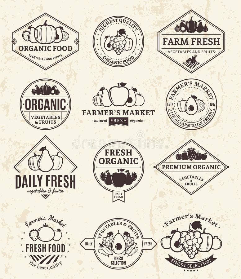 Vruchten en Groentenemblemen, Etiketten en Ontwerpelementen vector illustratie