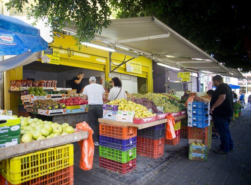 Vruchten en groentenmarkt Hadera Israël stock afbeelding