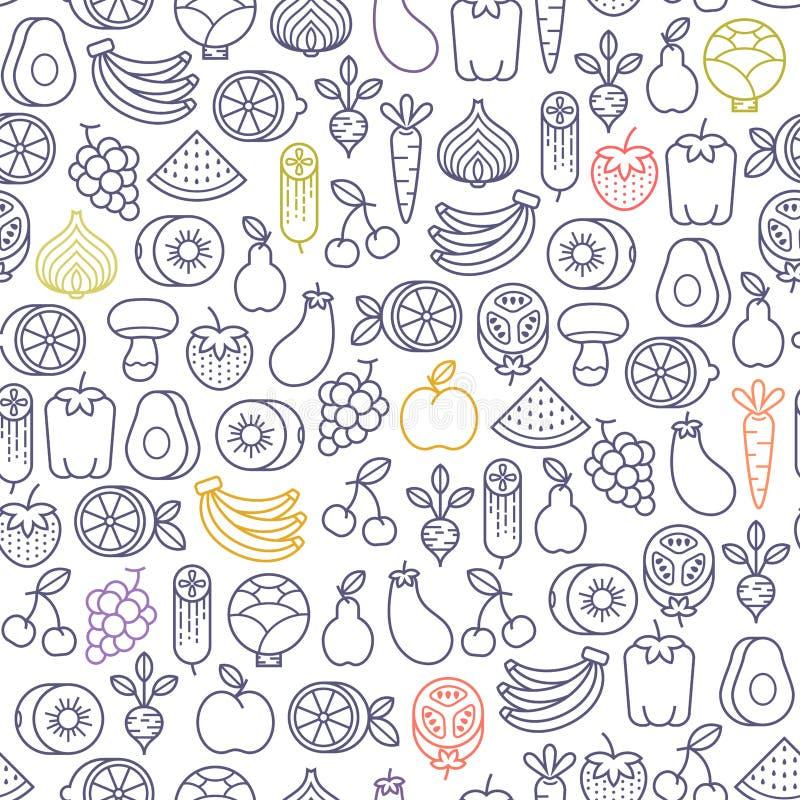 Vruchten en groentenpatroon royalty-vrije illustratie