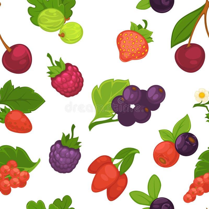 Vruchten en het patroonvector van de van de bessenframboos en aardbei stock illustratie