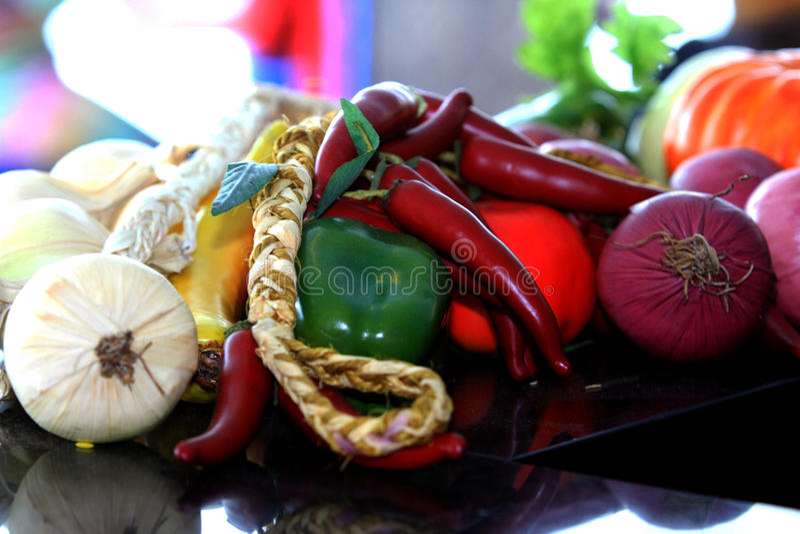 Vruchten en kruiden stock foto's