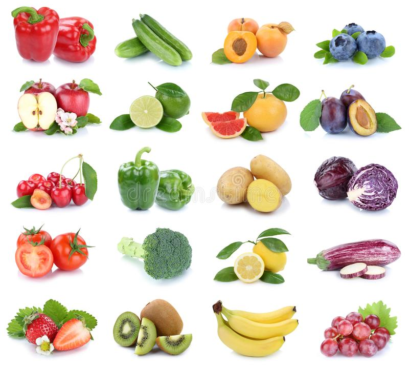 Vruchten en tomaten van groenten de inzameling geïsoleerde appelen berrie royalty-vrije stock afbeelding