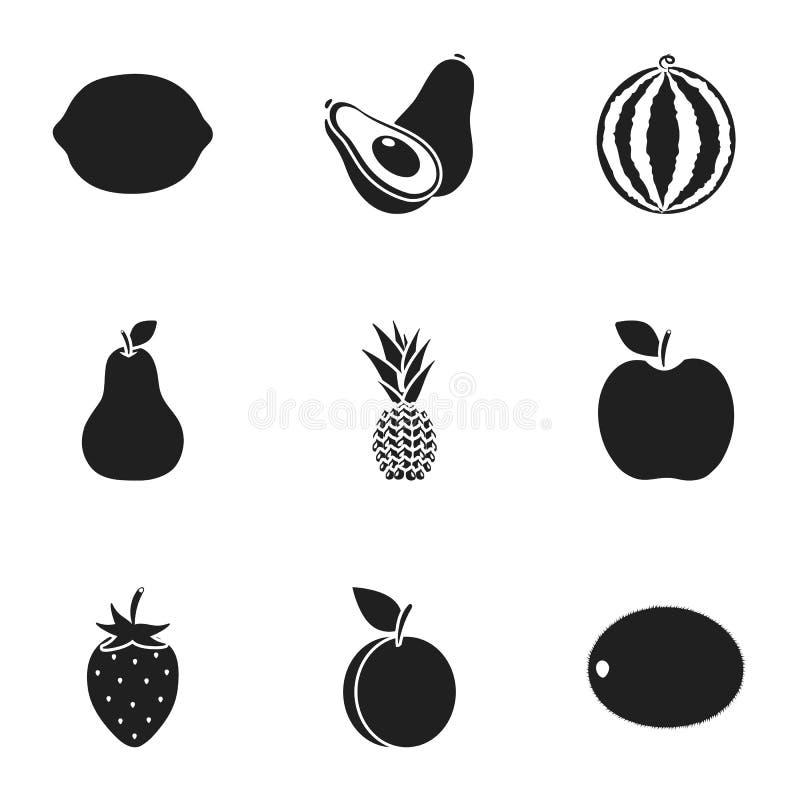 Vruchten geplaatst pictogrammen in zwarte stijl Grote inzameling van vruchten de vectorillustratie van de symboolvoorraad stock illustratie
