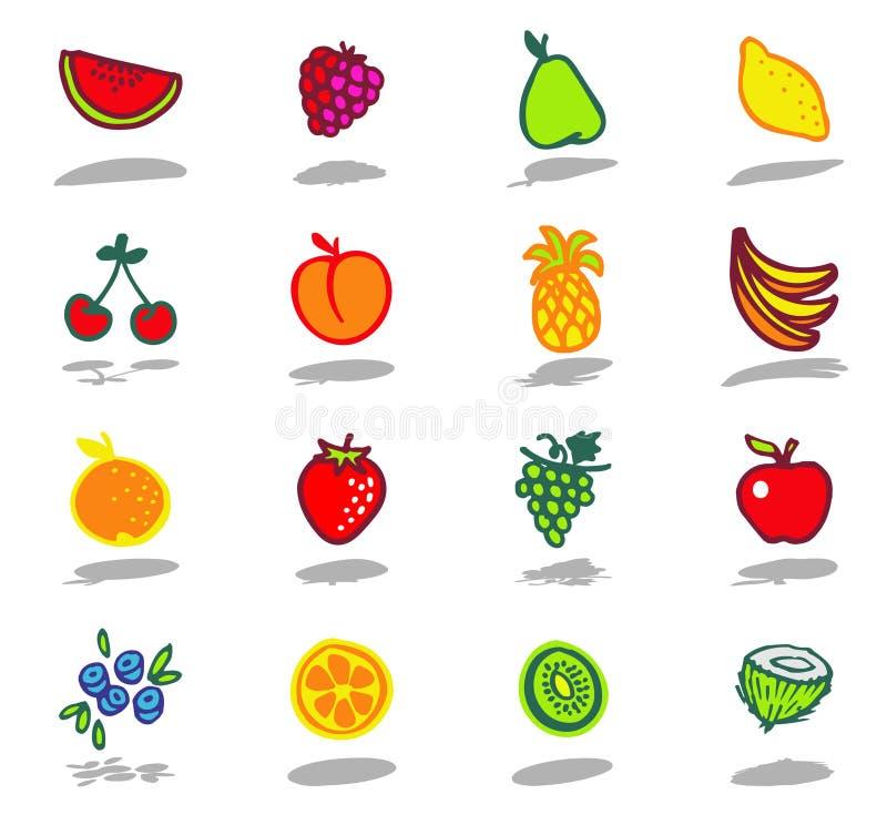 vruchten geplaatste pictogrammen royalty-vrije illustratie