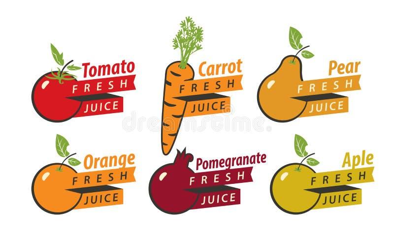 Vruchten met vers sap vector illustratie