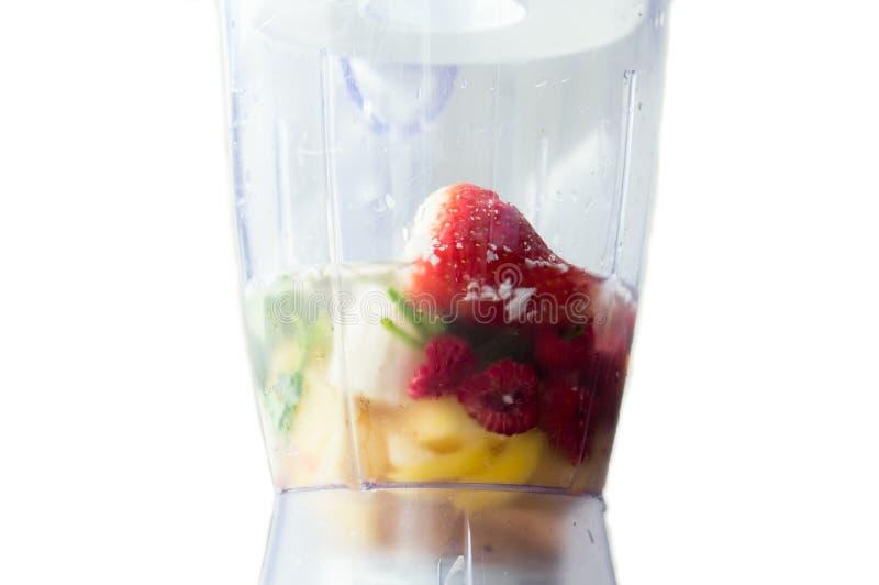 Vruchten in mixer stock foto