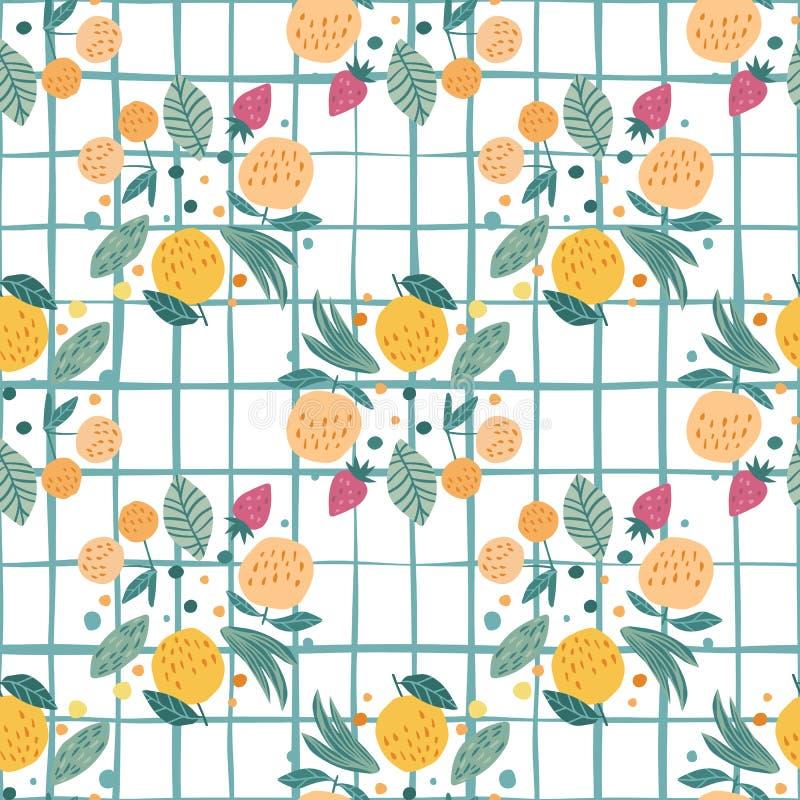 Vruchten naadloos patroon op streepachtergrond Grappige zoete tuinvruchten op witte achtergrond royalty-vrije illustratie