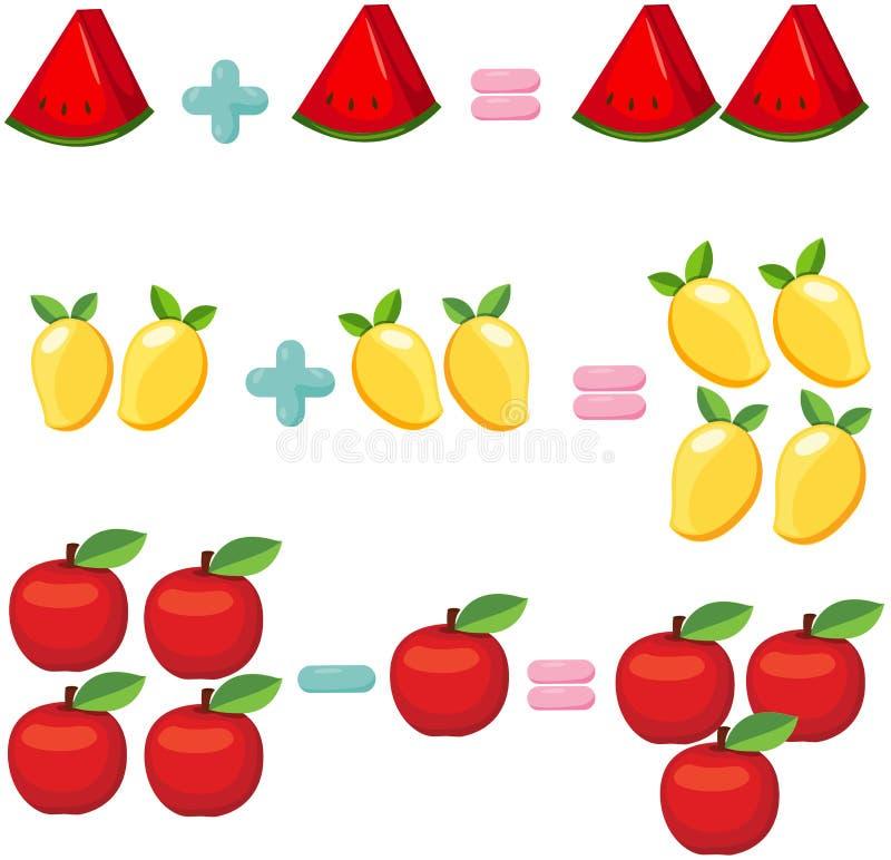 Vruchten om wiskunde te leren stock illustratie
