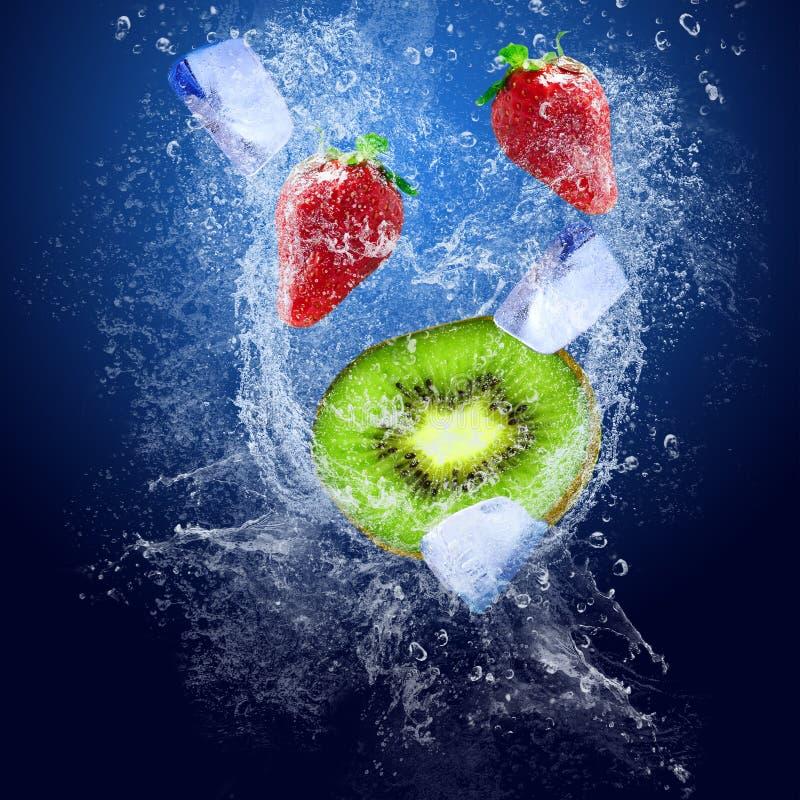 Vruchten onder water stock foto