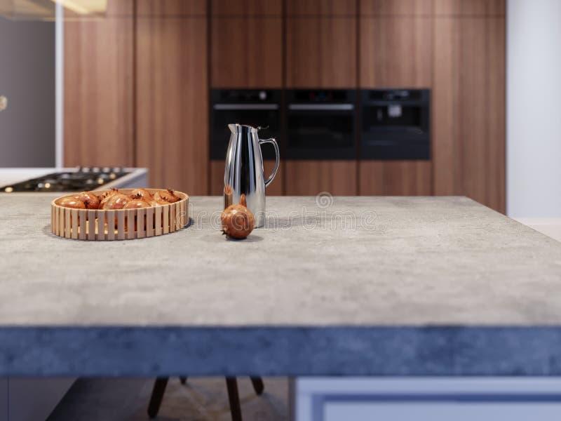 Vruchten op concrete worktop van een moderne keuken, verse groenten in de keuken, gezond voedsel stock illustratie