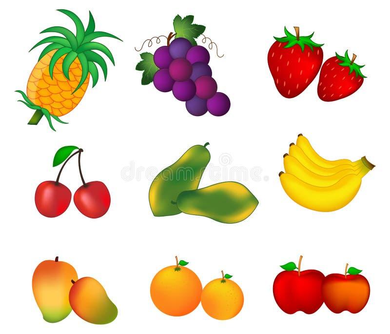 Vruchten op wit worden geïsoleerd dat royalty-vrije illustratie