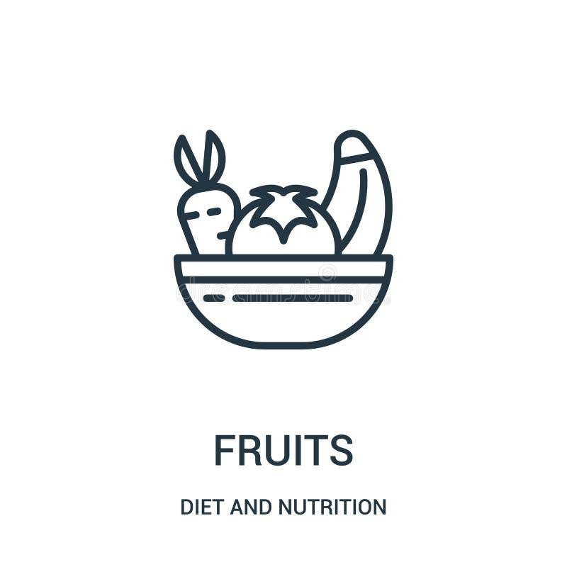 vruchten pictogramvector van dieet en voedingsinzameling De dunne lijnvruchten vectorillustratie van het overzichtspictogram Line royalty-vrije illustratie