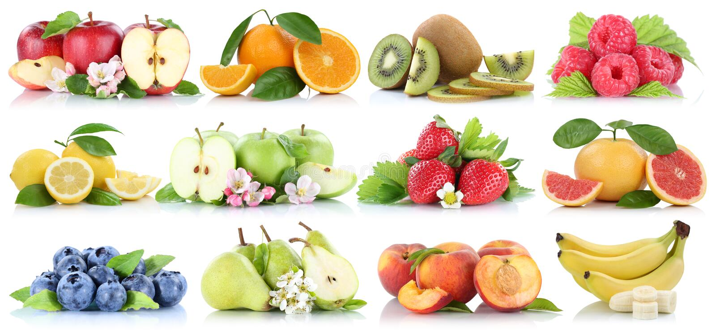 Vruchten van de de appelenbanaan van de inzamelings oranje die appel de bosbessenaardbei op wit wordt geïsoleerd royalty-vrije stock fotografie
