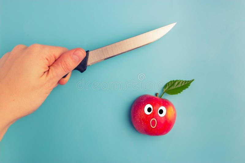 Vruchten van een mes worden doen schrikken dat stock foto
