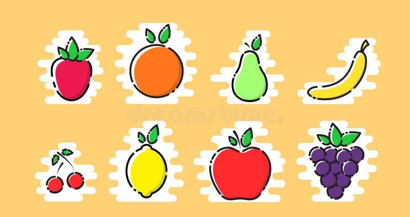 Vruchten vector met gestileerd MBE wordt geplaatst, vlakke pictogrammen, vector die stock illustratie