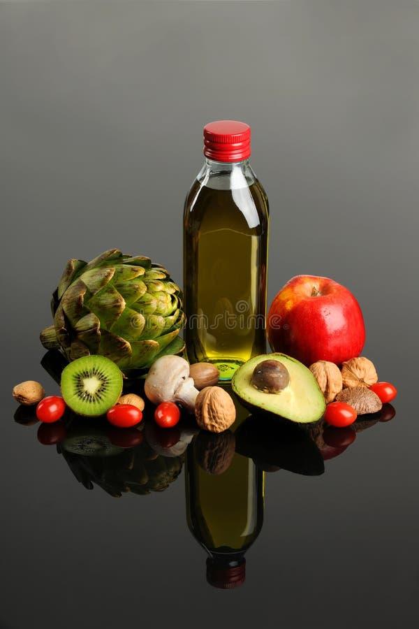 Vruchten Vegatables en Olijfolie royalty-vrije stock foto's