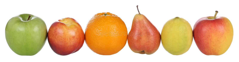 Vruchten zoals sinaasappel, citroen, perzik, peer en appelen op wh wordt geïsoleerd die royalty-vrije stock afbeeldingen