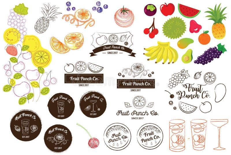 Vruchtensap en de Vectorillustratie van het van het Stempelembleem en Pictogram stock illustratie