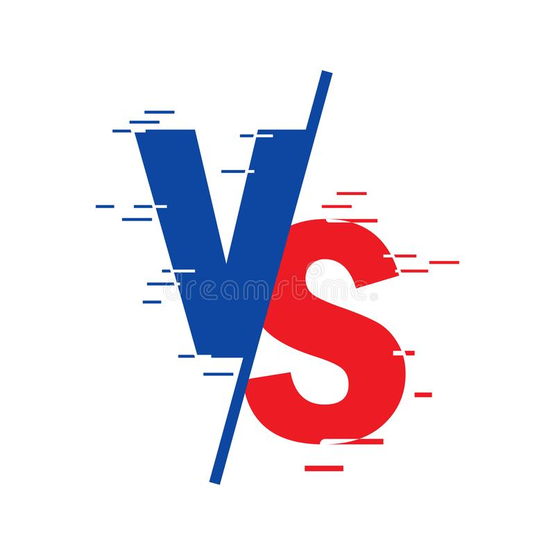 VS against the letters  logo are isolated on a white background. VS against a symbol for confrontation or the concept of vector illustration