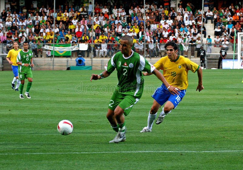 vs Algeria piłka nożna życzliwa zapałczana Brasil zdjęcia stock