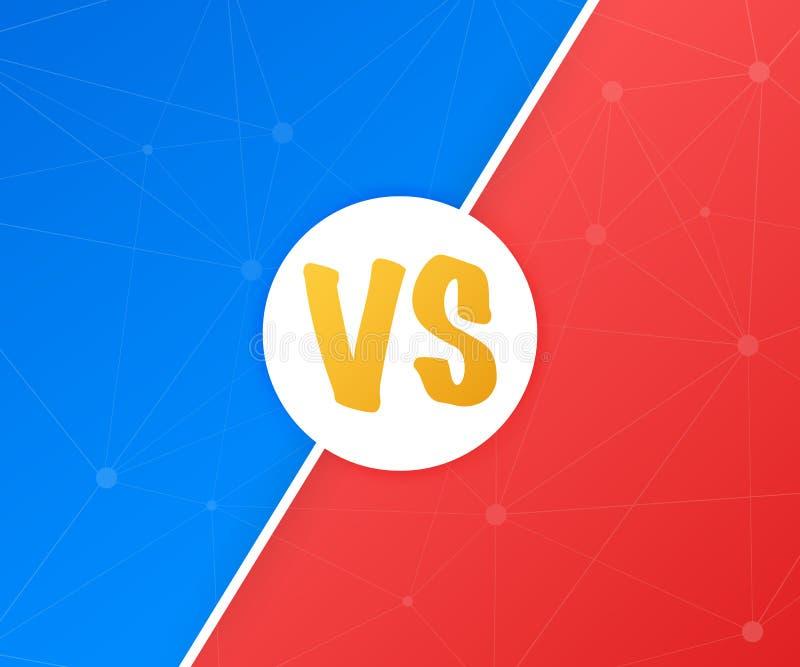 VS Błękitny i czerwony komiczny projekt Versus Batalistyczny sztandaru dopasowanie vs list rywalizaci konfrontacja, również zwróc royalty ilustracja
