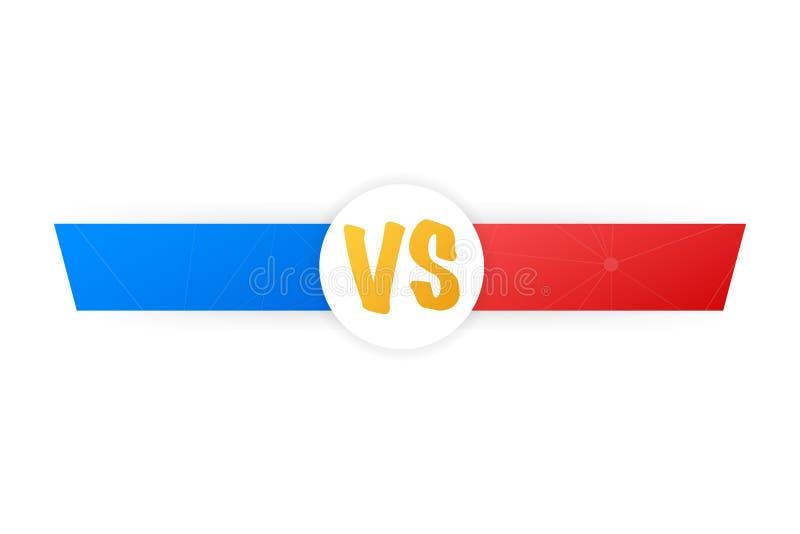 VS Błękitny i czerwony komiczny projekt Versus Batalistyczny sztandaru dopasowanie vs list rywalizaci konfrontacja, również zwróc ilustracji