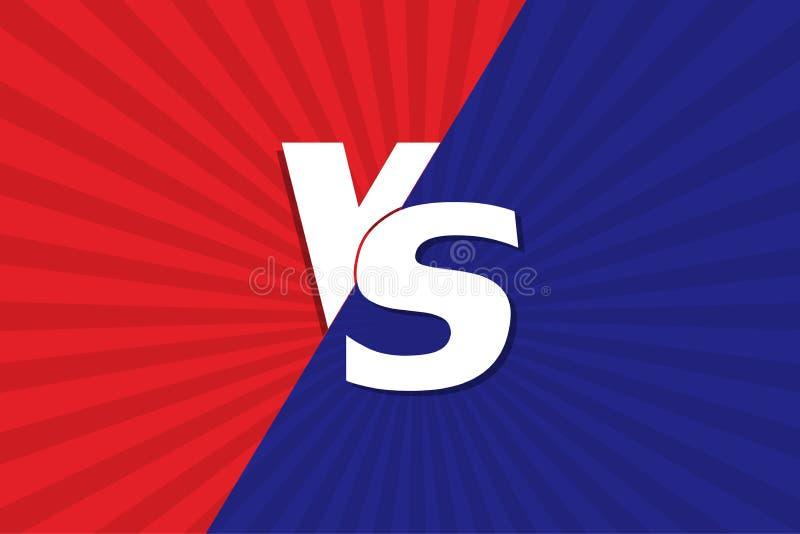 VS Błękitny i czerwony komiczny projekt Versus również zwrócić corel ilustracji wektora ilustracja wektor