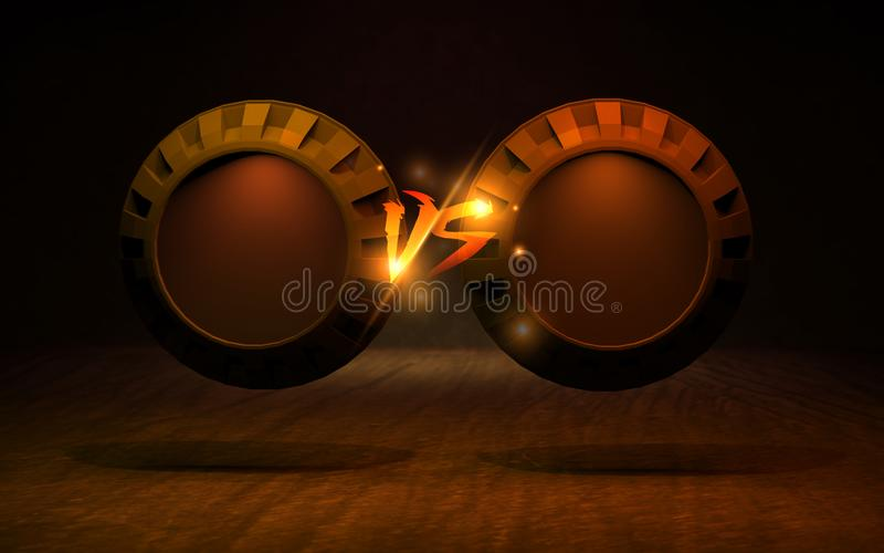 VS bakgrund tillfoga två tolkningen för slogan 3D royaltyfri illustrationer