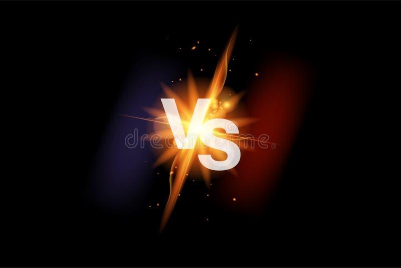 Vs batalistyczny sporta tło versus Versus walki ikona z ogieniem Vs pojedynek ikona wektor ilustracja wektor